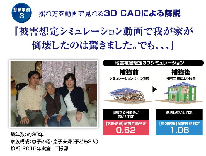 揺れ方を動画で見れる3D CADによる解説 『被害想定シミュレーション動画で我が家が倒壊したのは驚きました。でも、、、』